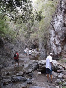Hiking up the creek bed.